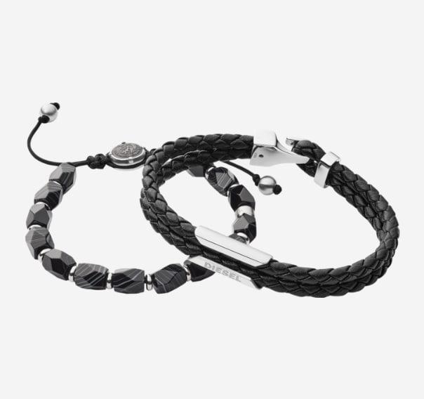 Black bracelet with a silver Diesel logo.