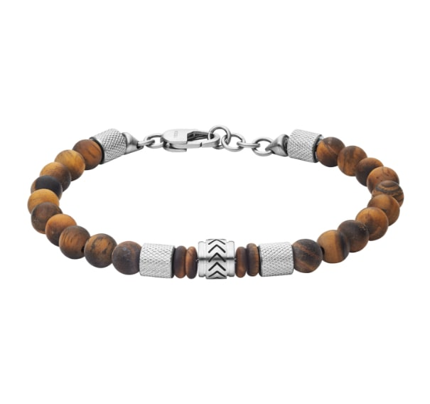 Brown and stainless steel beaded men's bracelet.