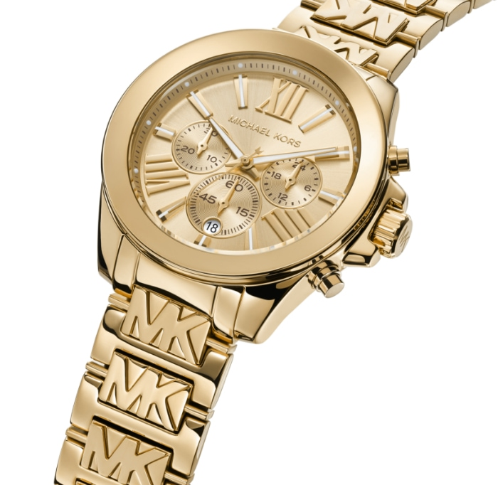 Gold-tone Michael Kors watch featuring repeat logo initials along the bracelet.