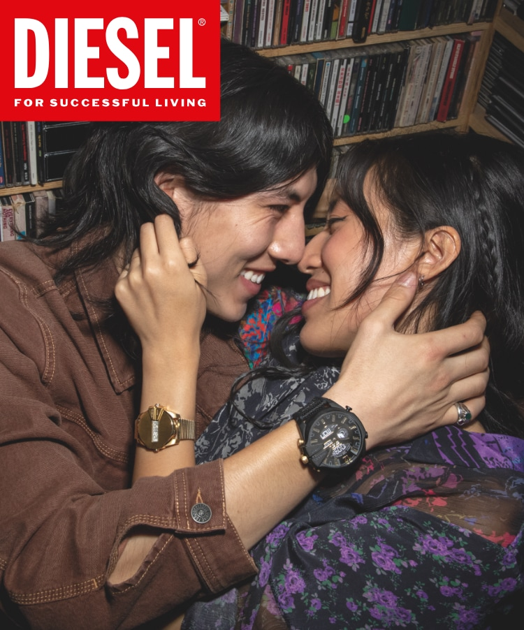 Diesel Logo and Stylish women and man in hotel lobby wearing Diesel denim outfits.