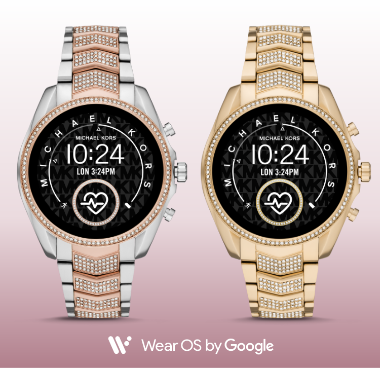 Two Michael Kors' Bradshaw Gen 5 smartwatch in gold-tone and two-tone stainless with rose gold-tone. Both smartwatches feature glitz-detiled three-link bracelets.