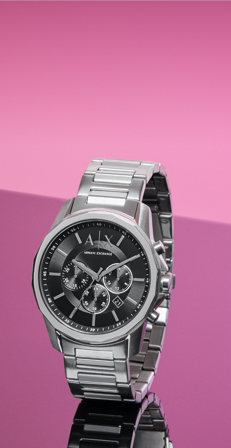 Stainless steel A|X watch with black dial.