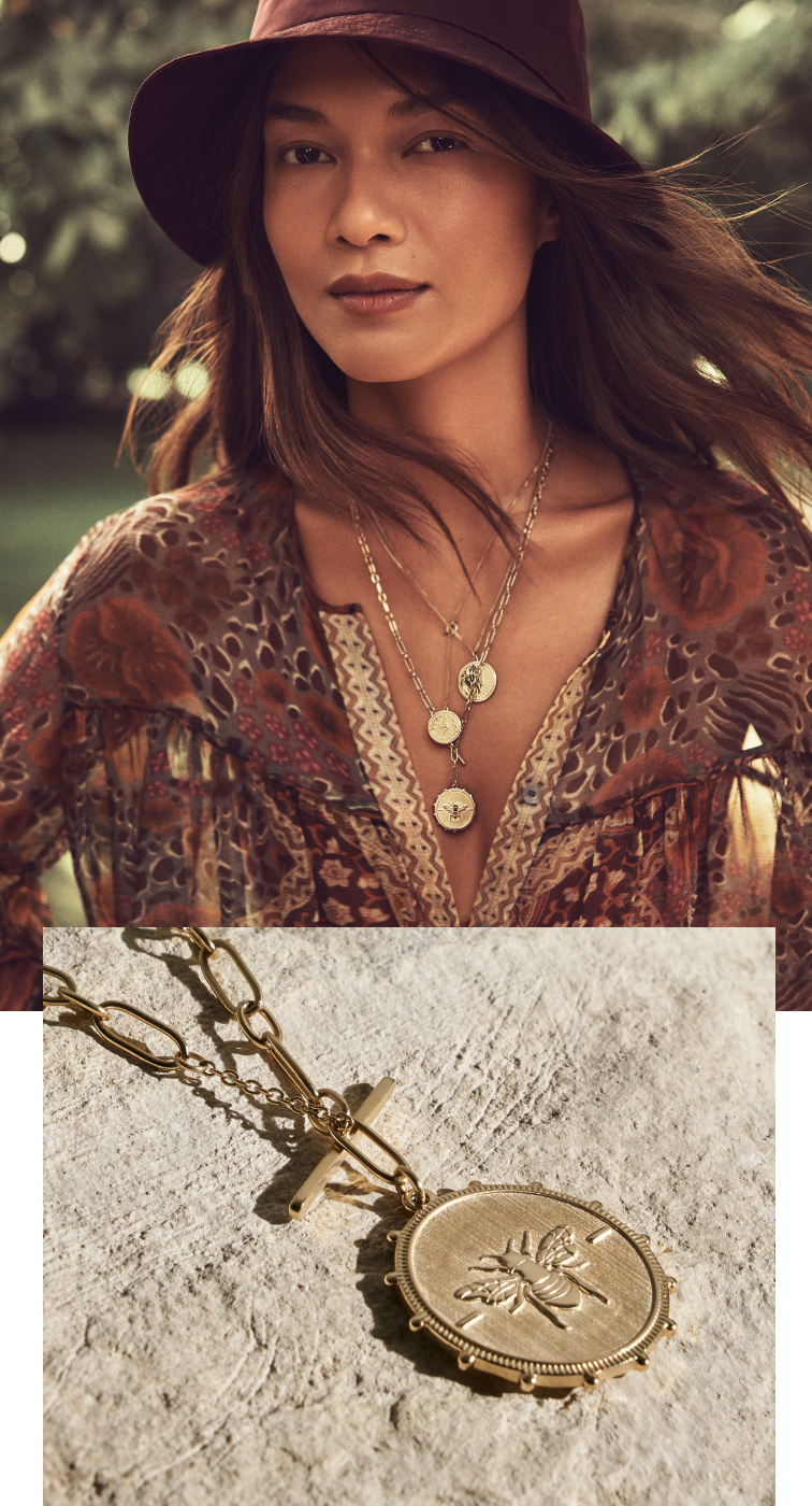 Stylish young woman wearing Fossil's vintage-coin inspired necklace.