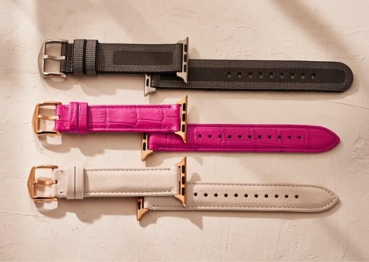 Dreifarbiges und roségoldfarbenes Fossil Band für die Apple Watch®
