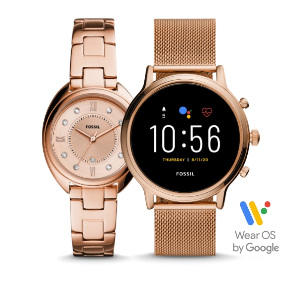 Two women's rose gold-tone watches, one traditional and one smartwatch.