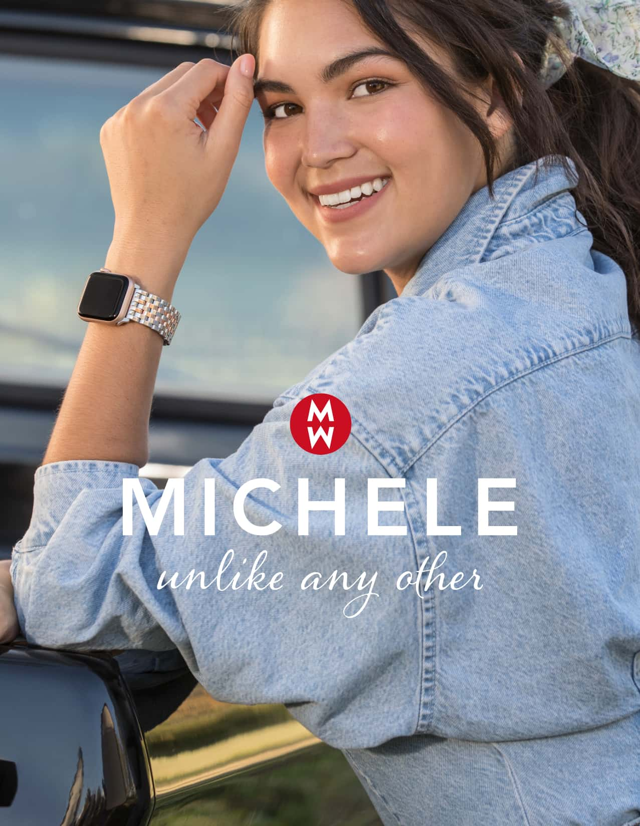 Chic woman wearing MICHELE band for Apple Watch®
