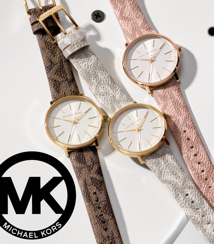 Three Michael Kors women's watches in logo-print leather straps in brown, white and pink.