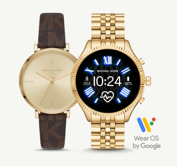 Michael Kors' women's gold-tone watch with brown leather logo strap and gold-tone smartwatch.