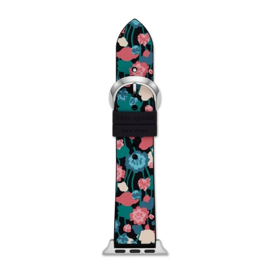 Nude colored kate spade new york band for Apple Watch® featuring applique flowers.