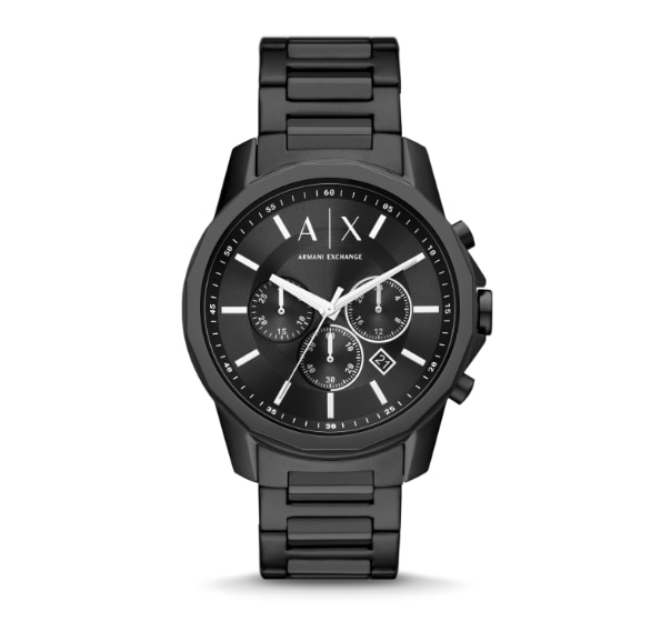 Two all-black Armani Exchange watches, one traditional, one hybrid.