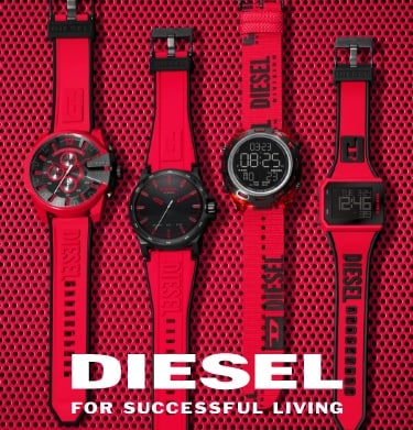 Four men's Diesel watches with red and black dials and straps.
