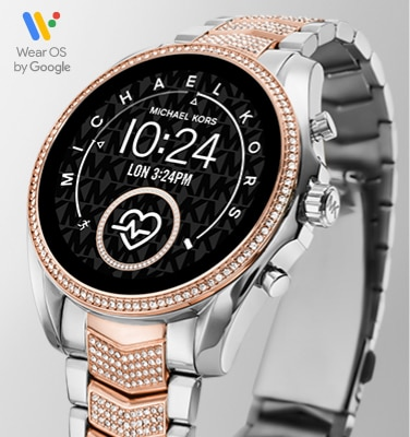 Two-tone Michael Kors Bradshaw Smartwatch featuring a rose gold-tone case with glitz and stainless steel bracelet featuring rose gold-tone center links detailed in glitz.