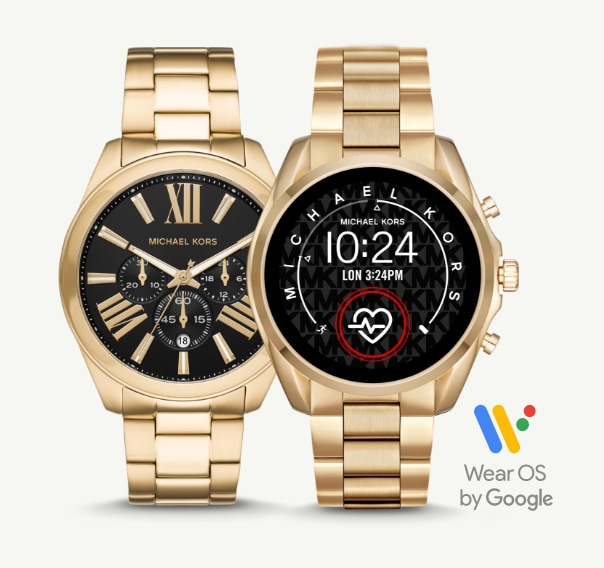 Two gold-tone Michael Kors watches with traditional and smartwatch functions.