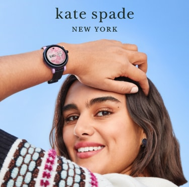 Girl wearing black and purple Kate Spade New York Sport Smartwatch featuring a scallop topring.