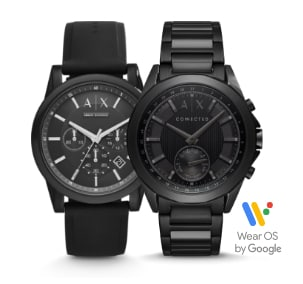 Two black Armani Exchange watches