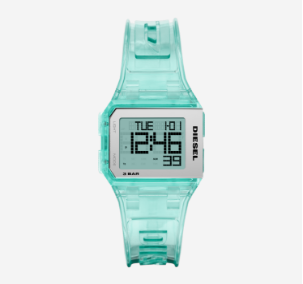 Women's teal blue Diesel digital watch.