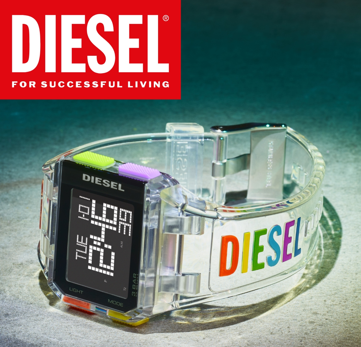 Diesel digital watch with rainbow logo and transparent strap.