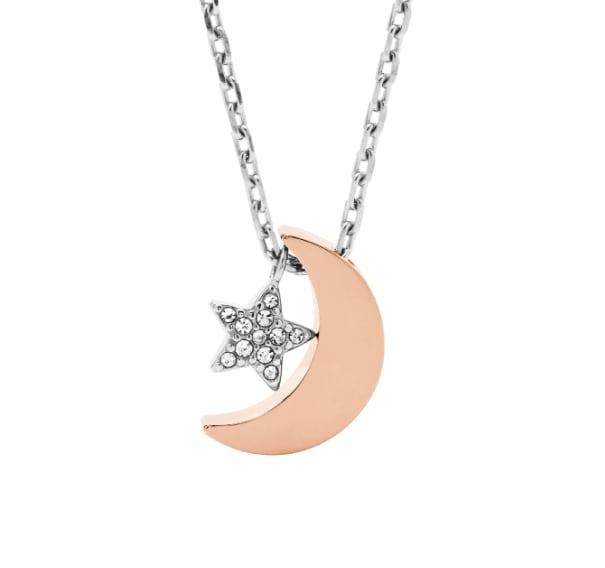 Damenkette mit Mond und Stern in Silber- und Roségoldfarben.