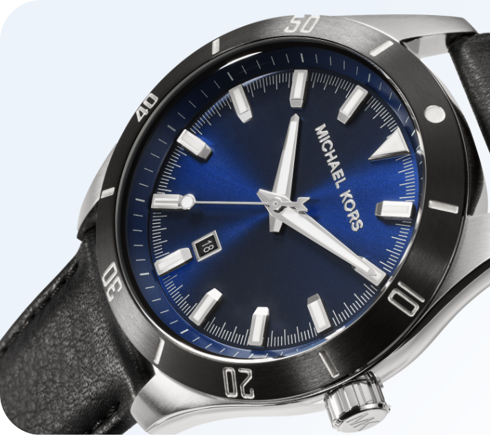 Men's Michael Kors watch featuring a blue sunray dial and black leather strap.