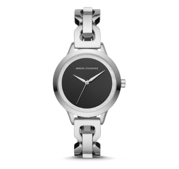 Black leather Armani Exchange womens' watch with stainless steel bezel.