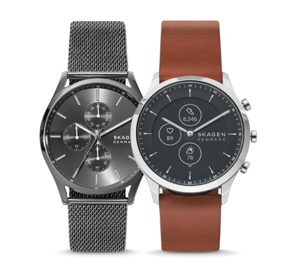 All-black and brown leather Skagen watches for men.