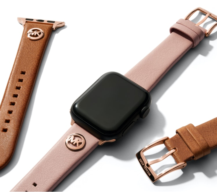 Michael Kors bands for Apple Watch® in luggage leather and leopard print.