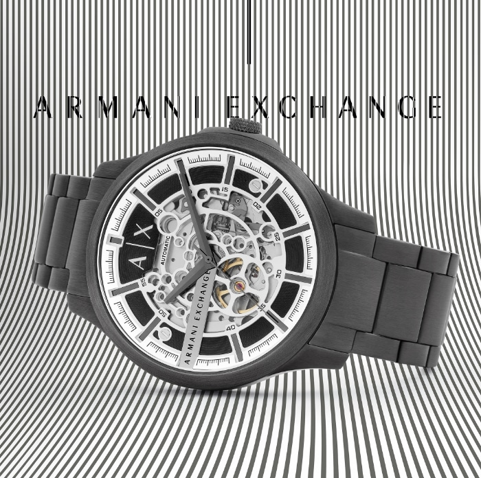 Black and white A|X watch.
