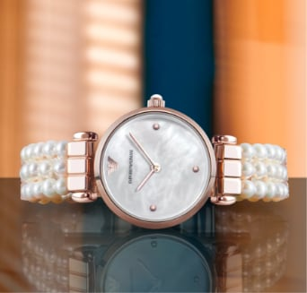 Women's Emporio Armani watch with a band of fresh water pearls.