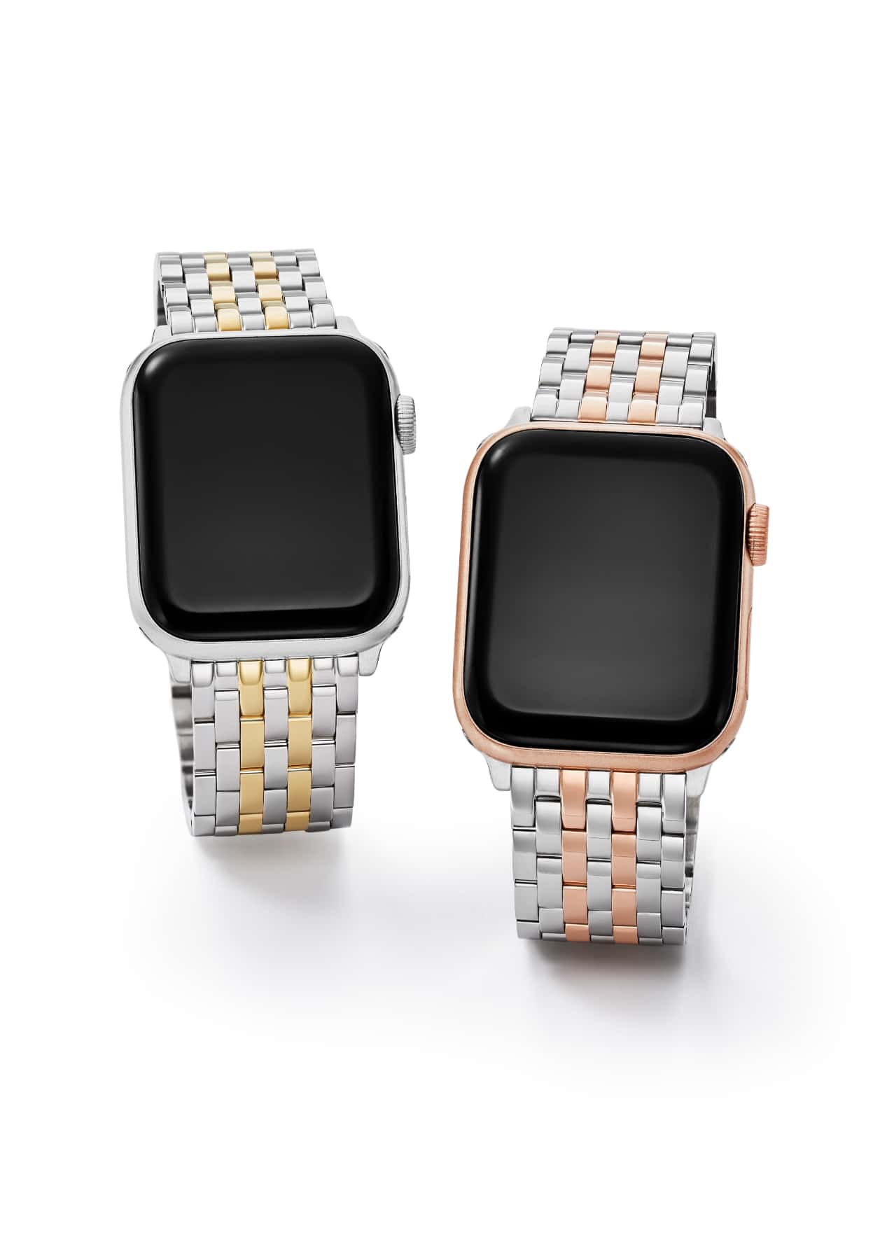 Two seven-link bracelet bands for Apple Watch® in two-tone with gold and two-tone with pink gold.